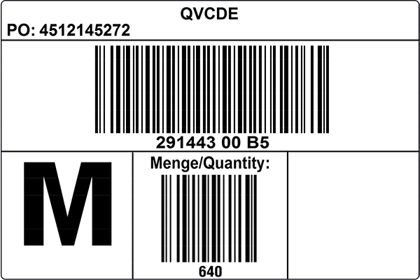 QVC Germany Sample Master Carton Label