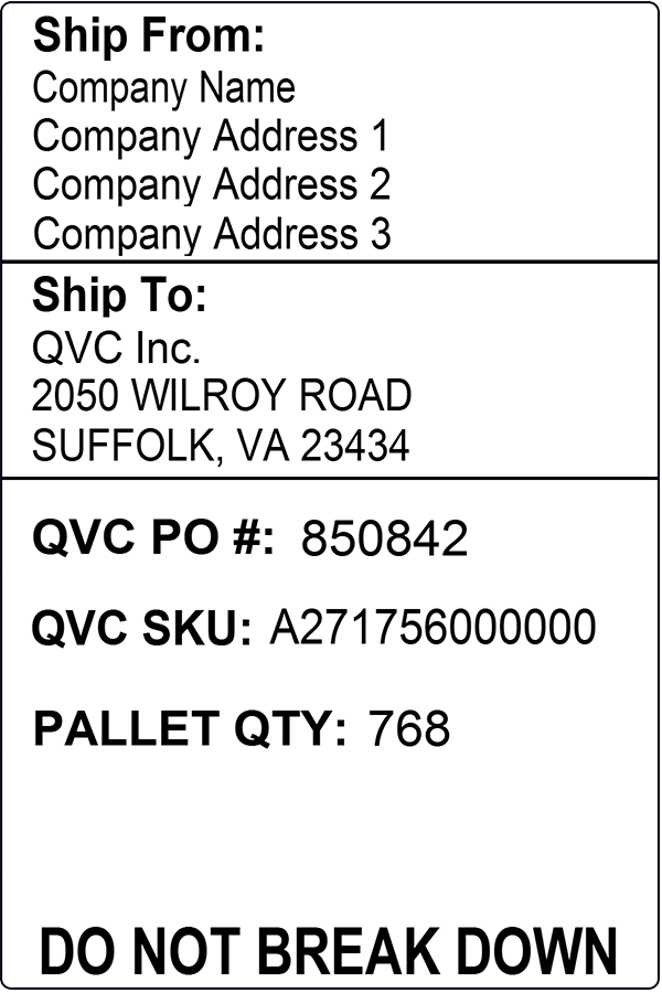 QVC US Pallet Label